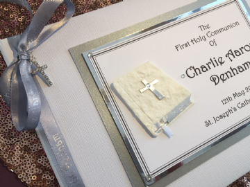 1st Holy Communion Guest Book -  Silver & Grey